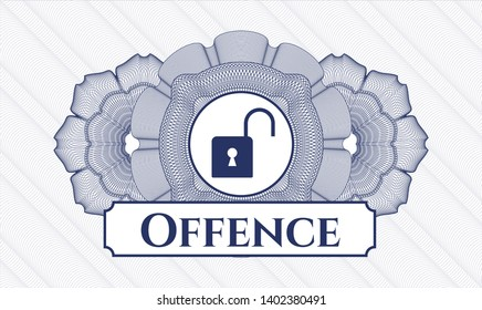 Blue rosette. Linear Illustration. with open lock icon and Offence text inside