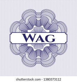 Blue rosette. Linear Illustration with text Wag inside