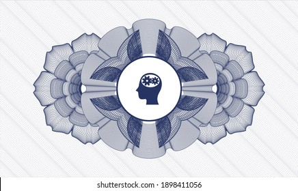 Blue rosette. Linear Illustration. Vector. Detailed with head with gears inside icon inside