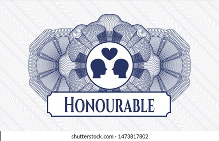 Blue rosette (money style emblem) with couple in love icon and Honourable text inside