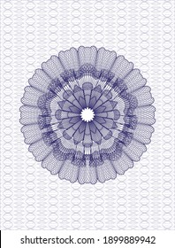 Blue rosette (money style emblem). Vector Illustration. Detailed.