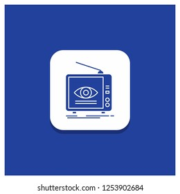 Blue Round Button for Ad, broadcast, marketing, television, tv Glyph icon