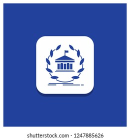 Blue Round Button for bank, banking, online, university, building, education Glyph icon