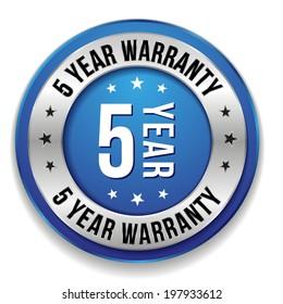 Blue round five year warranty badge on white background