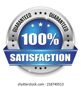 Blue round hundred percent satisfaction badge with ribbon