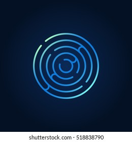 Blue round maze colorful icon. Vector circle labyrinth sign or logo element in thin line style
