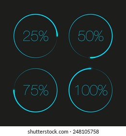 Blue round progress bars. Progress bar elements. Progress bar vector. Progress bar interface. Progress bar minimalistic. Progress bar web elements. Round progress bar. Interface element. Percent bar