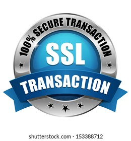 Blue round secure transaction button with ribbon.