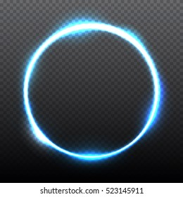 Blue round shining circle frame isolated on transparent background. Beautiful abstract luxury light ring. Vector illustration.