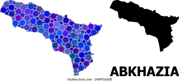 Blue round spot mosaic and solid map of Abkhazia. Vector geographic map of Abkhazia in blue color tones. Abstract mosaic is done with randomized round spots.