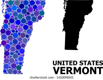 Blue round spot mosaic and solid map of Vermont State. Vector geographic map of Vermont State in blue color shades. Abstract mosaic is done from scattered round spots.