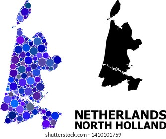 Blue round spot mosaic and solid map of North Holland. Vector geographic map of North Holland in blue color tinges. Abstract mosaic is composed with random round dots.