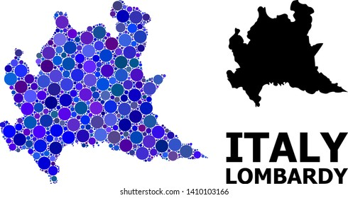 Blue round spot mosaic and solid map of Lombardy region. Vector geographic map of Lombardy region in blue color tones. Abstract mosaic is composed from scattered sphere items.