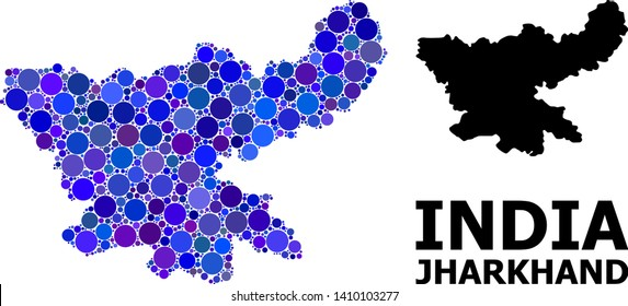 Blue round spot mosaic and solid map of Jharkhand State. Vector geographic map of Jharkhand State in blue color shades. Abstract collage is composed from randomized round dots.