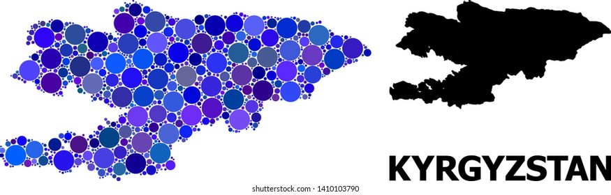 Blue round spot mosaic and solid map of Kyrgyzstan. Vector geographic map of Kyrgyzstan in blue color variations. Abstract mosaic is designed from random spheric points.
