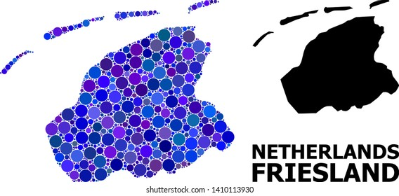Blue round spot mosaic and solid map of Friesland Province. Vector geographic map of Friesland Province in blue color tinges. Abstract mosaic is designed from scattered spheric dots.