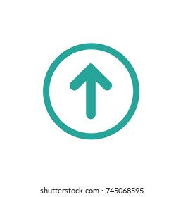 blue rounded arrow up in blue circle icon. Isolated on white. Upload icon.  Upgrade sign. North pointing arrow.