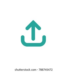 blue rounded arrow up icon. Isolated on white. Upload icon.  Upgrade sign. North pointing arrow.