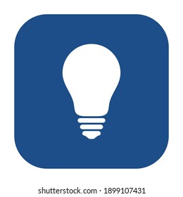 Blue rounded square light bulb icon, button isolated on a white background. Vector illustration.