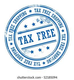 Blue rubber stamp with small stars and the word Tax Free inside, vector illustration