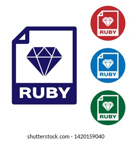Blue RUBY file document icon. Download ruby button icon isolated on white background. RUBY file symbol. Set color icon in circle buttons. Vector Illustration