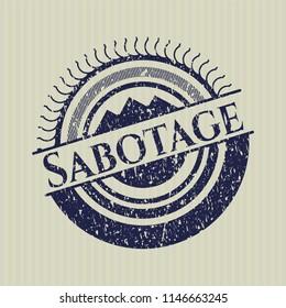 Blue Sabotage distress grunge seal