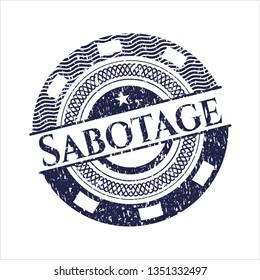 Blue Sabotage distress rubber grunge seal