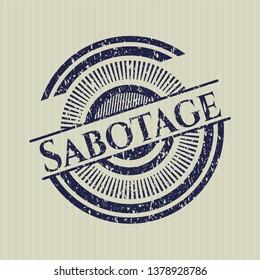 Blue Sabotage grunge seal