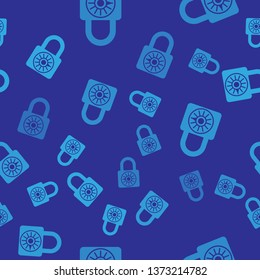 Blue Safe combination lock wheel icon isolated seamless pattern on blue background. Combination padlock. Security, safety, protection, password, privacy concept. Vector Illustration