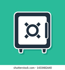 Blue Safe icon isolated on green background. The door safe a bank vault with a combination lock. Reliable Data Protection.  Vector Illustration