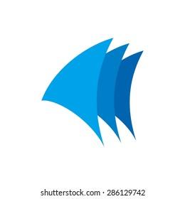 blue sail logo template. yacht icon template. navy logo. sailboat. nautical icon.