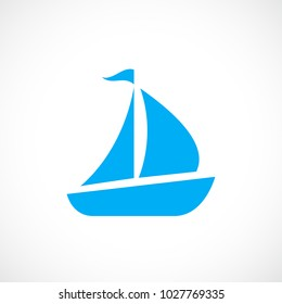 Blue sailboat vector icon illustration isolated on white background