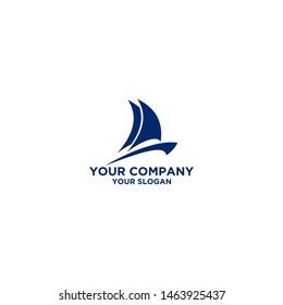 Blue Sailing Boat Logo Design Vector