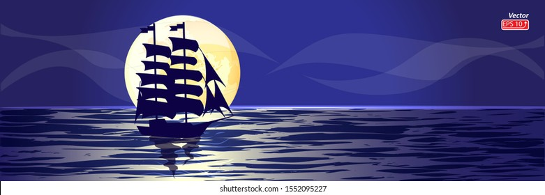 Blue Sailing ship, Boat with sail in night sea, ocean isolated on blue background, yellow moon vector illustration