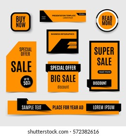 Blue sale banners collection. Special offer, set of orange discount poster. Vector, eps10