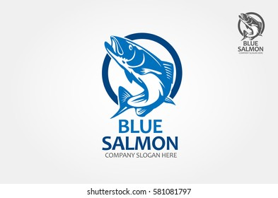 Blue Salmon Vector Logo Illustration. This is a vector of trout fish that you can use as a logo or design element.