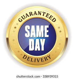 Blue same day delivery badge with gold border