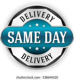 Blue same day delivery button / badge with silver border