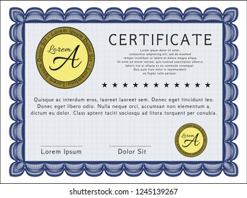 Blue Sample Certificate. With background. Superior design. Customizable, Easy to edit and change colors.