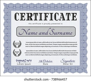 Blue Sample certificate or diploma. Lovely design. With quality background. Vector illustration.