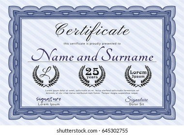 Blue Sample certificate or diploma. Retro design. With guilloche pattern. Customizable, Easy to edit and change colors.