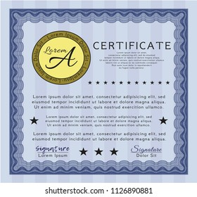 Blue Sample Certificate. Elegant design. With great quality guilloche pattern. Vector illustration.