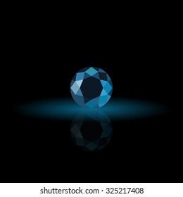 Blue sapphire, diamond logo, background for jewelry, jewellery, jewelery or gems company
