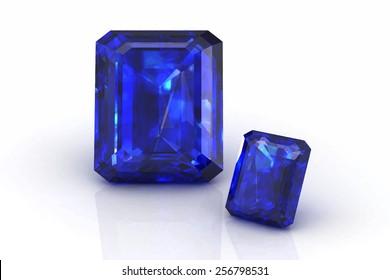 blue sapphire on white background.Vector illustration.