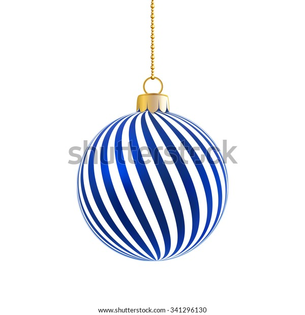 Blue satin bauble with white stripes hanging on a chain isolated on white.