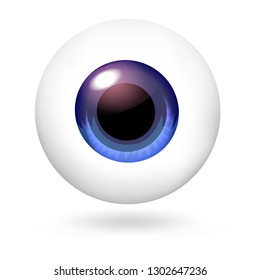 Blue scary eyeball icon. Realistic illustration of blue scary eyeball vector icon for web design isolated on white background