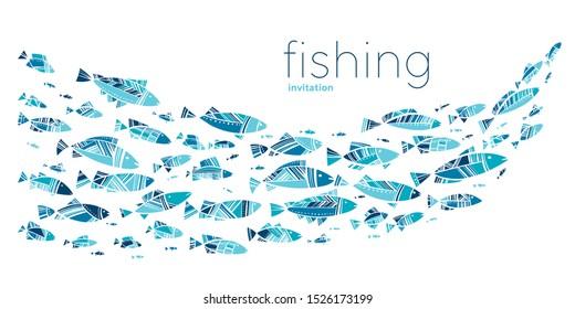 Blue school fish on white background. simple concept vector illustration for card, header, invitation, poster, social media, post publication.