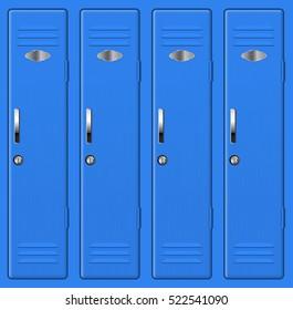 Blue school lockers. Vector  illustration