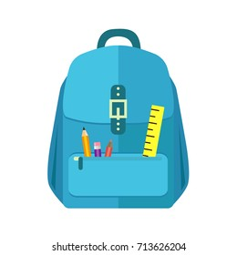 Blue schoolbag and backpack icon in flat style on white background