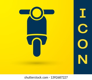 Blue Scooter icon isolated on yellow background. Vector Illustration